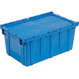 Distribution Container With Hinged Lid, 21.9x15.3x9.7, Blue, Lot of 1