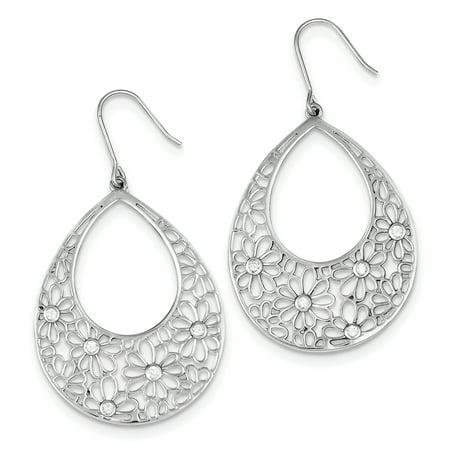 925 Sterling Silver Flower Cut Out with CZ Teardrop Dangle Earrings