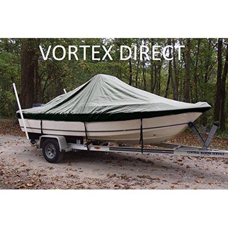 VORTEX HEAVY DUTY GREEN CENTER CONSOLE BOAT COVER FOR 14'7