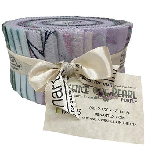 """Essence of Pearl Purple Jelly Roll by Benartex 40 2 1/2"""" strips"""