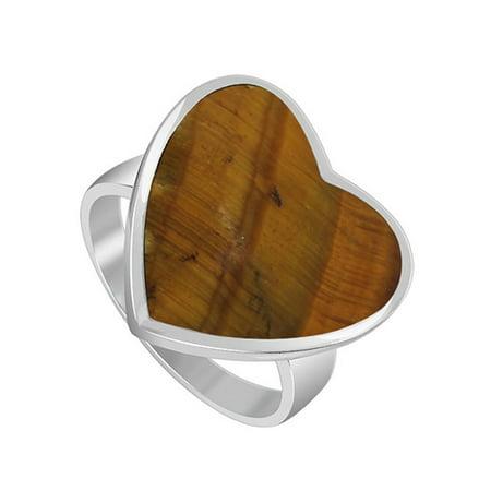 Gem Avenue 925 Sterling Silver Brown Tiger eye Heart Shape Ring