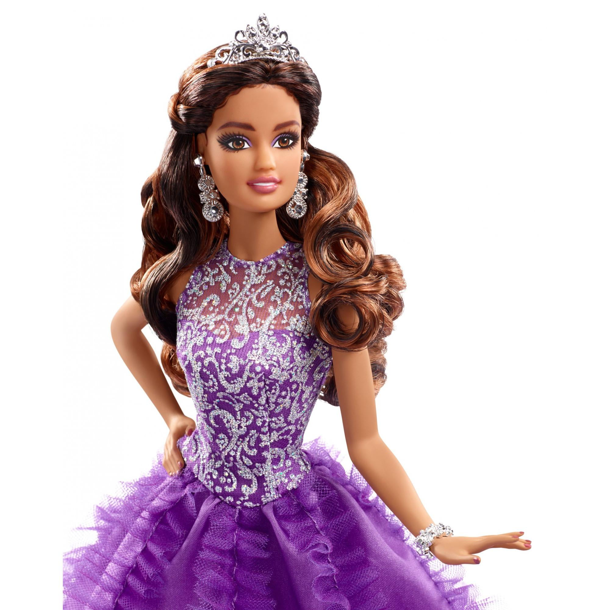 bdd3bc20a05 Barbie Collector Quinceanera Doll with Sparkling Purple Gown   Tiara -  Walmart.com