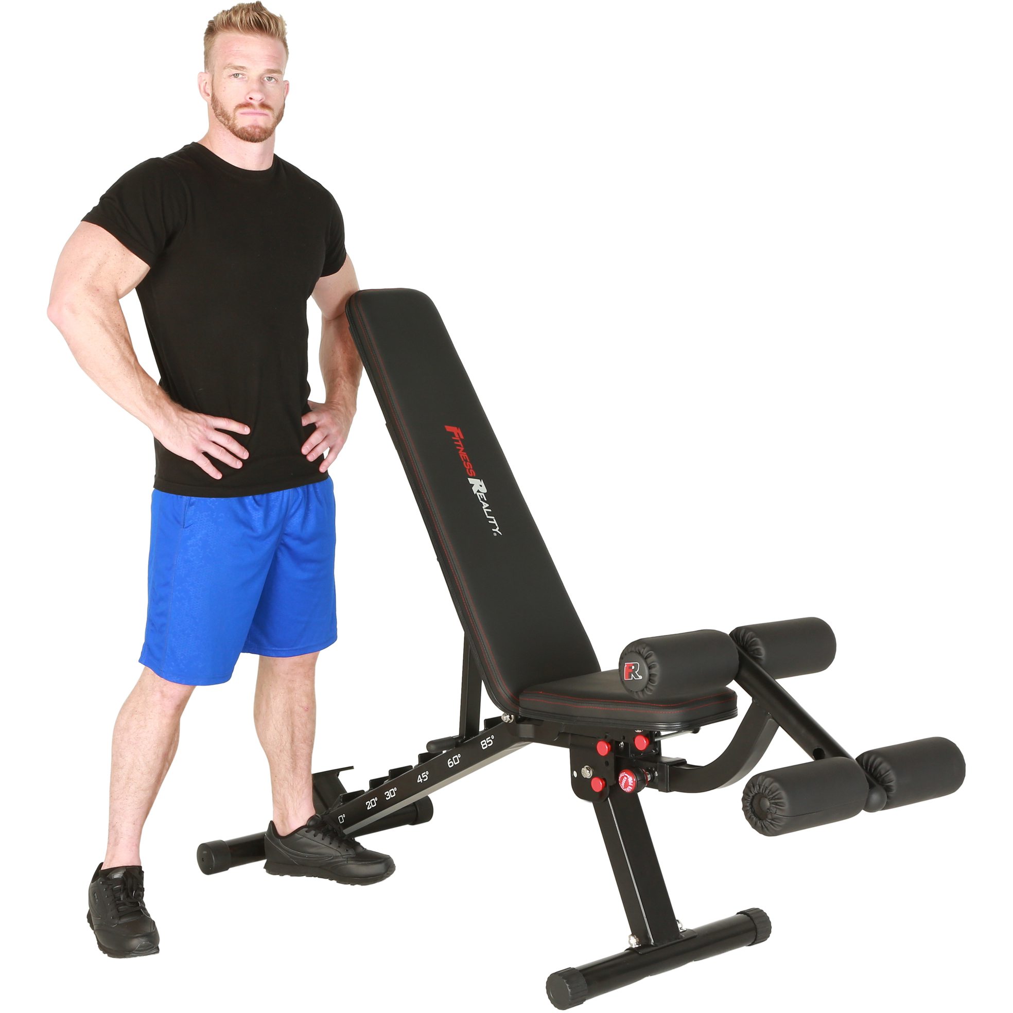 FITNESS REALITY 2000 Super Max XL Adjustable Utility FID Weight Bench with Detachable Leg Lock-Down