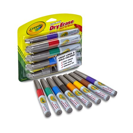 Crayola Visi Max Dry Erase Broad Line Markers  8 Count