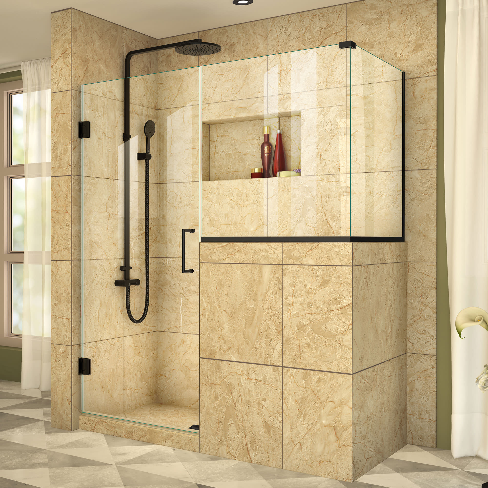 DreamLine Unidoor Plus 54 in. W x 36 3/8 in. D x 72 in. H Frameless Hinged Shower Enclosure in Satin Black
