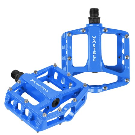 Mountain Bike Pedals Aluminum Alloy Cycling Sealed Bearing Flat Platform Pedal Lightweight Bike Accessories for Road Bike Blue Alloy Sealed Bearing Pedals