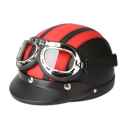 Full Face Leather - Motorcycle Scooter Open Face Half Leather Helmet with Visor UV Goggles Retro Vintage Style 54-60cm