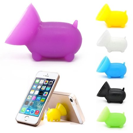 6 Pc Pig Cell Phone Stand Silicone Suction Cup Cute Holder Mobile Universal (New Suction Cup)