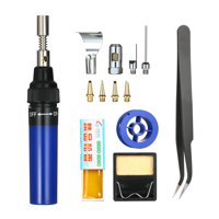 13 in 1 13Pcs Soldering Iron Kit 26ml Full Electronics Set Pen Welding Tool Car Repairing Gas Soldering Self-igniting Torch Outdoors / Blue Transparent