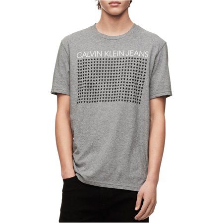 Calvin Klein Mens Logo With Stars Graphic T-Shirt