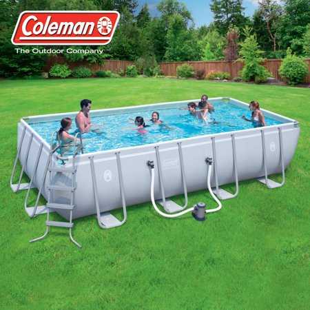 "Coleman 18' x 9' x 48"" Power Steel Rectangular Frame Above-Ground Swimming Pool"