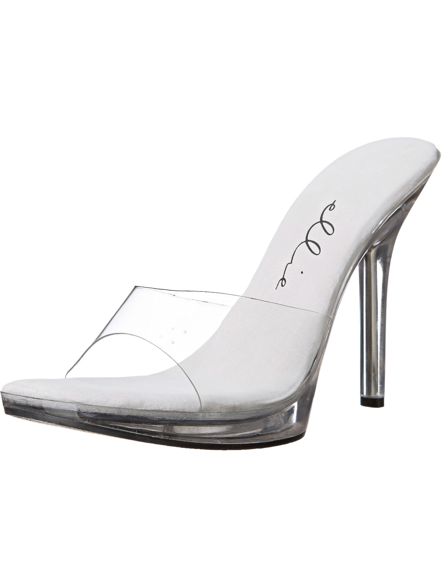 4.5 Inch Women's Evening Shoes Sexy Slip On Shoes Slides Mules Clear