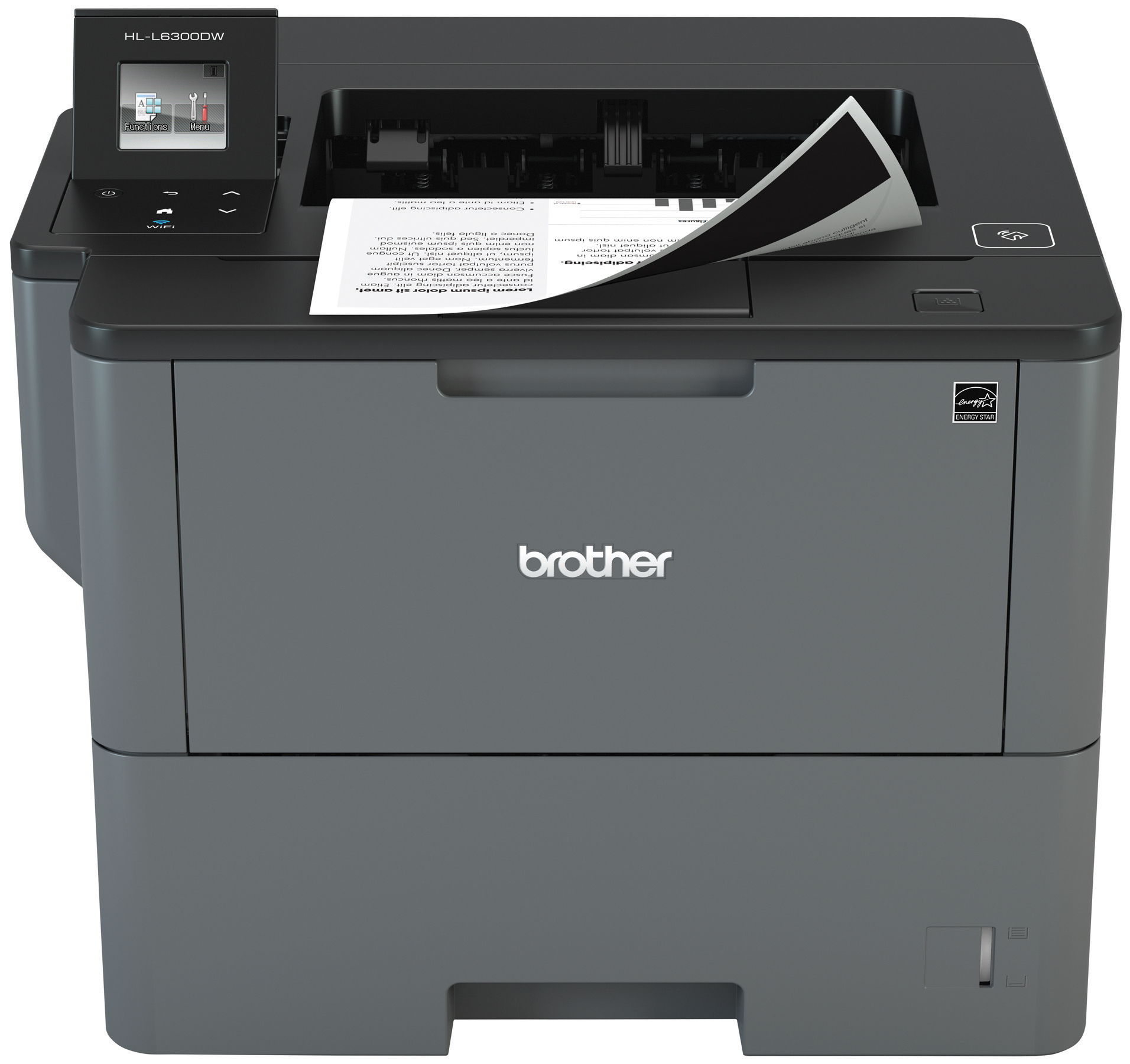 Brother Monochrome Laser Printer, HL-L6300DW, Wireless Networking, Mobile Printing, Duplex Printing, Large Paper Capacity, Cloud Printing