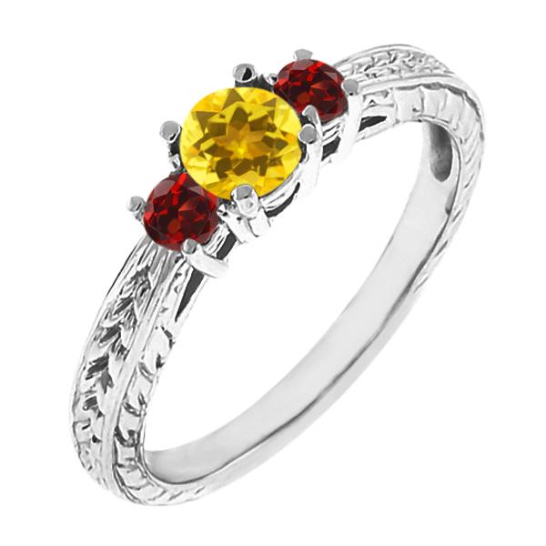 0.60 Ct Round Yellow Sapphire Red Garnet 18K White Gold 3-Stone Ring