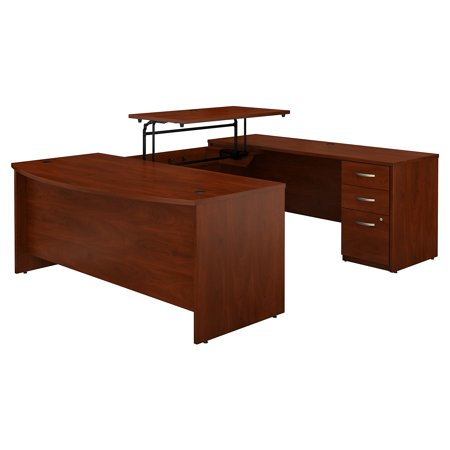 SRE389HCSU Bush Business Furniture Hansen Cherry Series C Elite 72W x 36D 3 Position Sit to Stand Bow Front U Shaped Desk with 3 Drawer File Cabinet ()