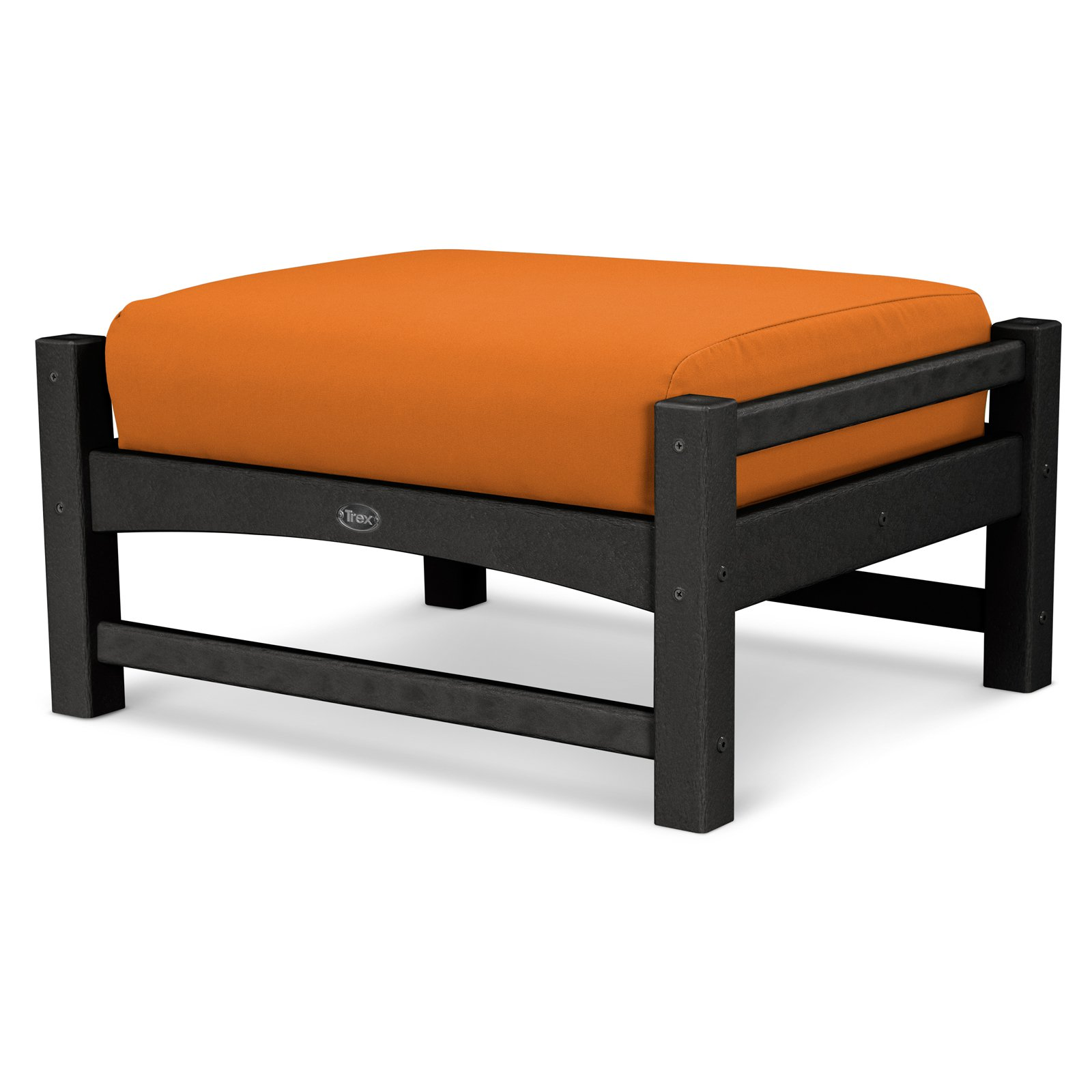 Trex Outdoor Furniture Recycled Plastic Rockport Club Ottoman with Sunbrella Cushion