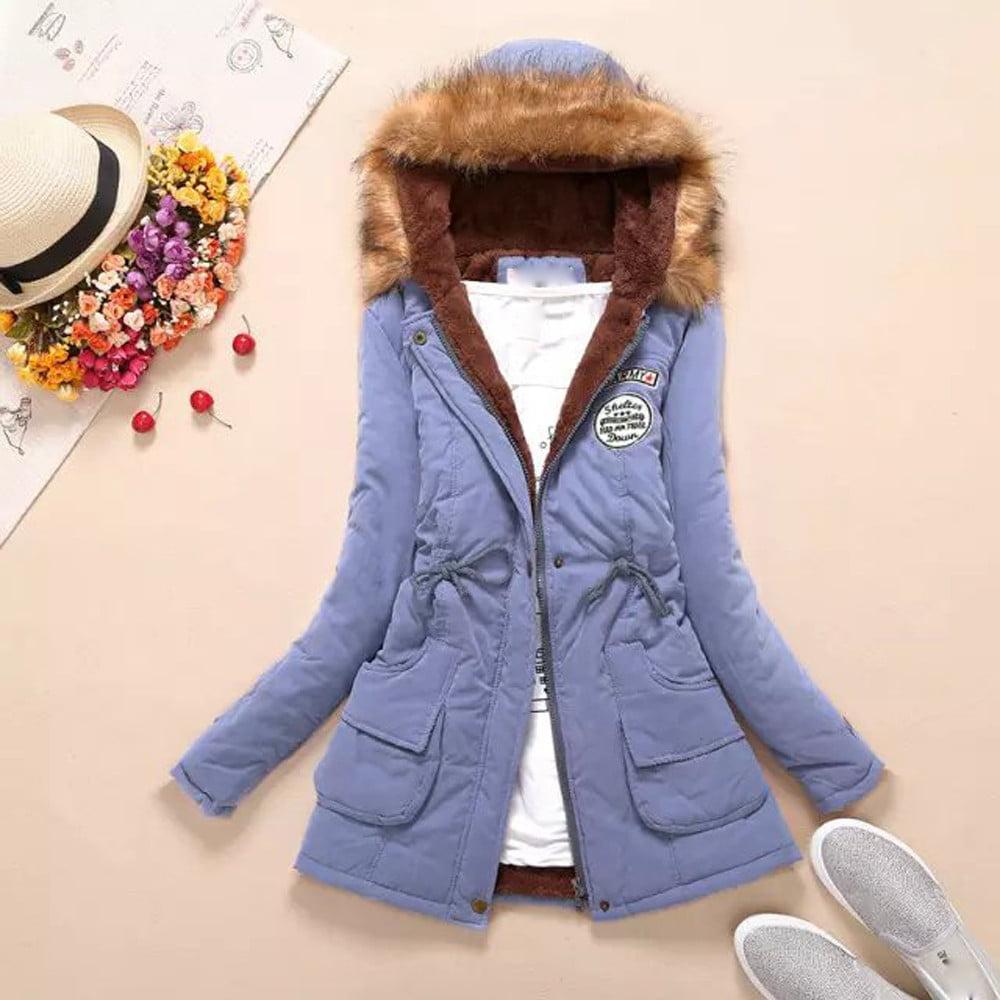 Binmer® Hot Sale Womens Warm Long Coat Fur Collar Hooded ...