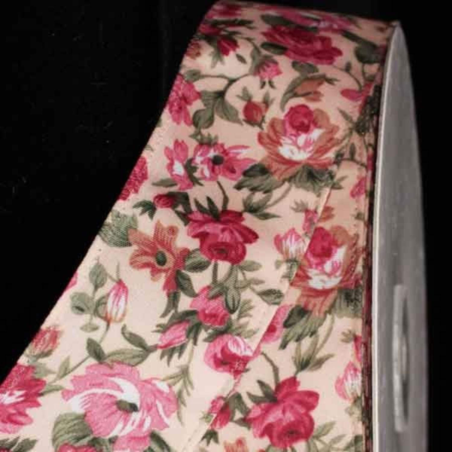 "Set of 2 Mauve Floral American Rose Wired Craft Ribbon 1.5"" x 54 Yards"