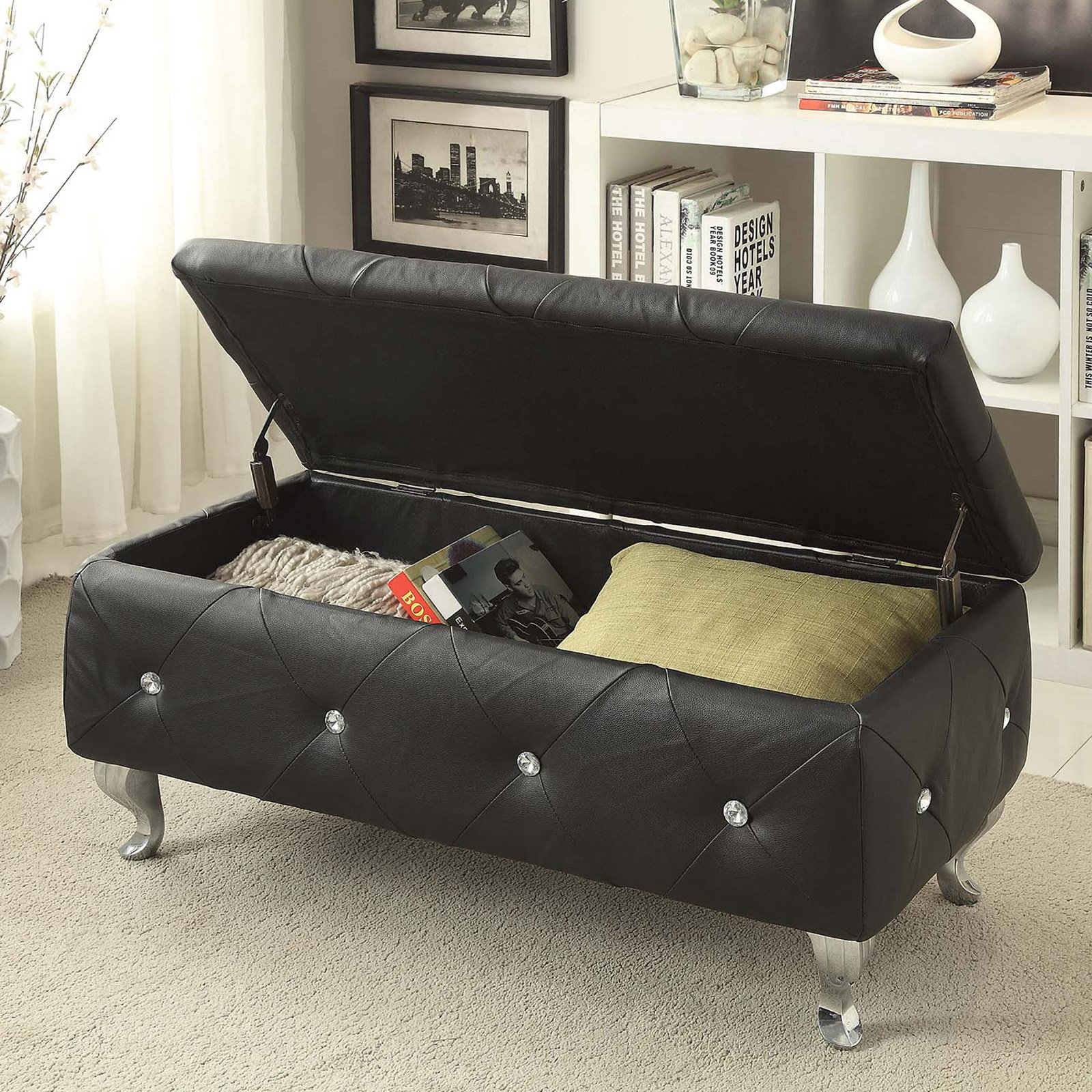 Christies Home Living Crystal Tufted Storage Bench