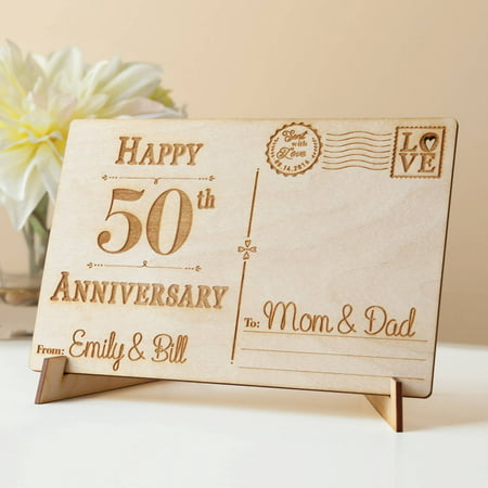 Decorative Sign Posts - Happy Anniversary Personalized Wood Postcard