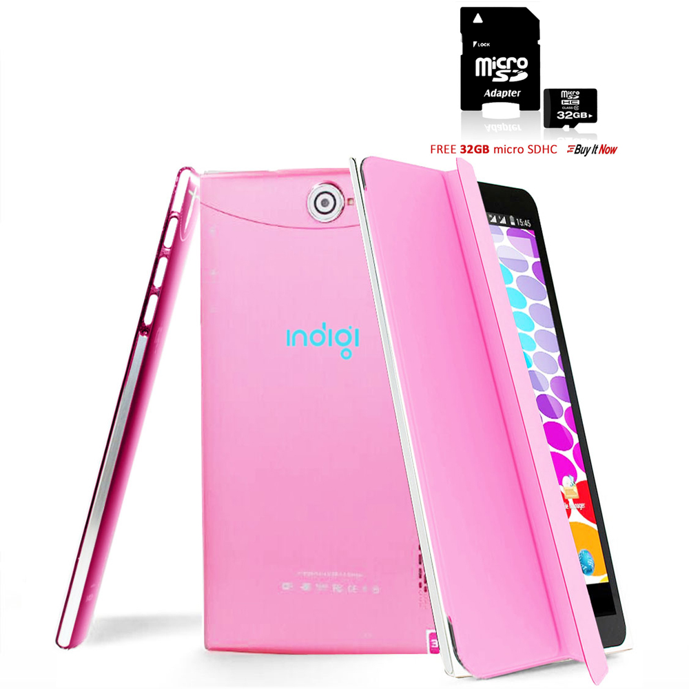 Indigi® 7.0inch Unlocked 3G 2-in-1 SmartPhone & TabletPC Android 4.4  w/ Built-in Smart Cover + 32gb microSD (Pink)