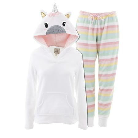 PJ Couture Women's Unicorn Hooded White Pajamas