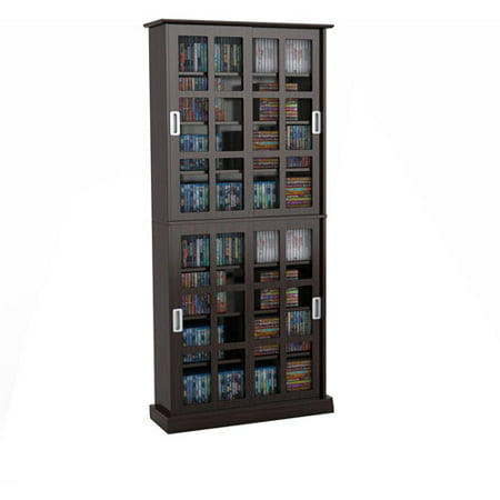 "Atlantic 72"" Windowpane Media Storage Shelf Cabinet with Sliding Glass Doors (720 CDs, 288 DVDs 348 Blu Rays), Espresso"