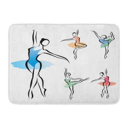 GODPOK Exercise Ballerina Ballet Dancer Silhouette Symbols Dance Rug Doormat Bath Mat 23.6x15.7 (Wired Dance Mat)