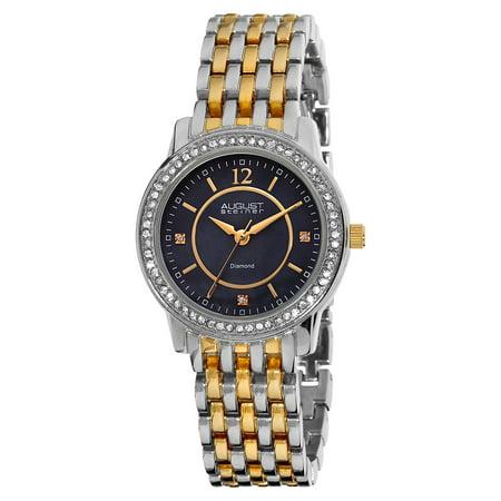 August Steiner Women's Swiss Quartz Diamond Base Metal Two-Tone Bracelet Watch