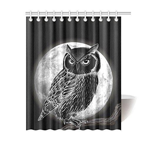 GCKG Mysterious Full Moon Night Shower Curtain Christmas Owl