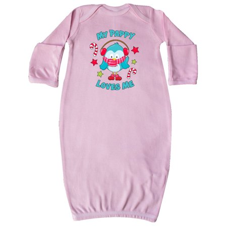 Toddler Christmas Nightgown (My Pappy Loves me with Christmas Bird Newborn Layette Pink)