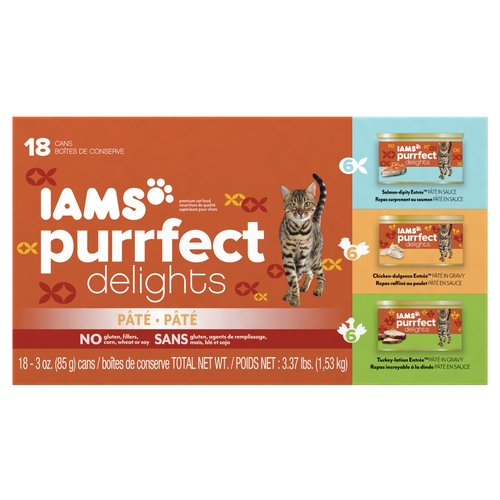 Iams Purrfect Delights 18-Can Variety Pack Canned Cat Food, 3 oz