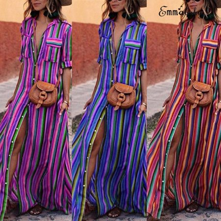 Ladies Halloween Fancy Dress Plus Sizes (Women Sexy Buckle Lapels Party Cocktail Stripe Split Front Maxi Long Beach Dress Plus)