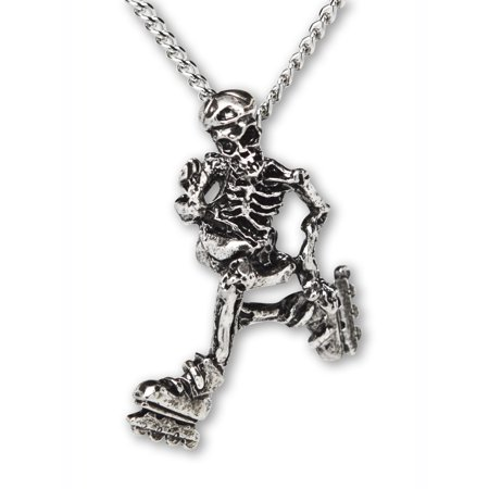 Gothic Skeleton Cruising on Roller Blades Pendant Necklace by Real Metal Jewelry