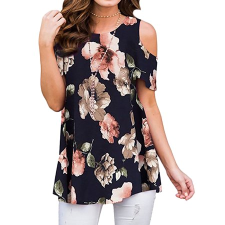 Women Short Sleeve Cold Shoulder Floral Print Round Neck (Best Cold Shoulder Tops)