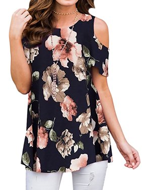 596fada7124c79 Product Image Starvnc Women Floral Print Round Neck Cold Shoulder Summer  Tops