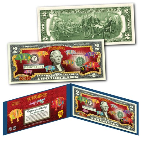2019 CNY Lunar Chinese New YEAR OF THE PIG Polychromatic 8 Pigs $2 U S Bill  BLUE