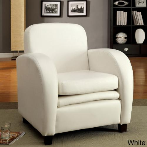 Furniture of America Double Padded Club Chair White