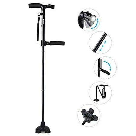 Adjustable Folding Canes and Walking Sticks for Men and Women with Led Light and Cushion Handle for Arthritis Seniors Disabled and Elderly Best Mobility Aids (The Best Walking Cane)