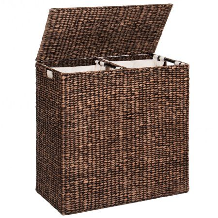 Best Choice Products Water Hyacinth Double Laundry Hamper Basket w/ 2 Liner Basket Bags Brushed - Espresso