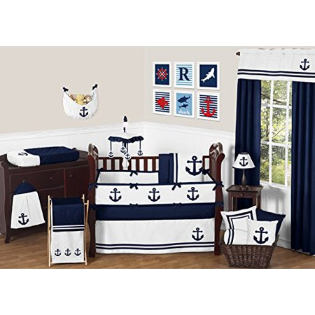 Anchors Away Lamp (Anchors Away Nautical Navy Blue and White Baby and Childrens Lamp)