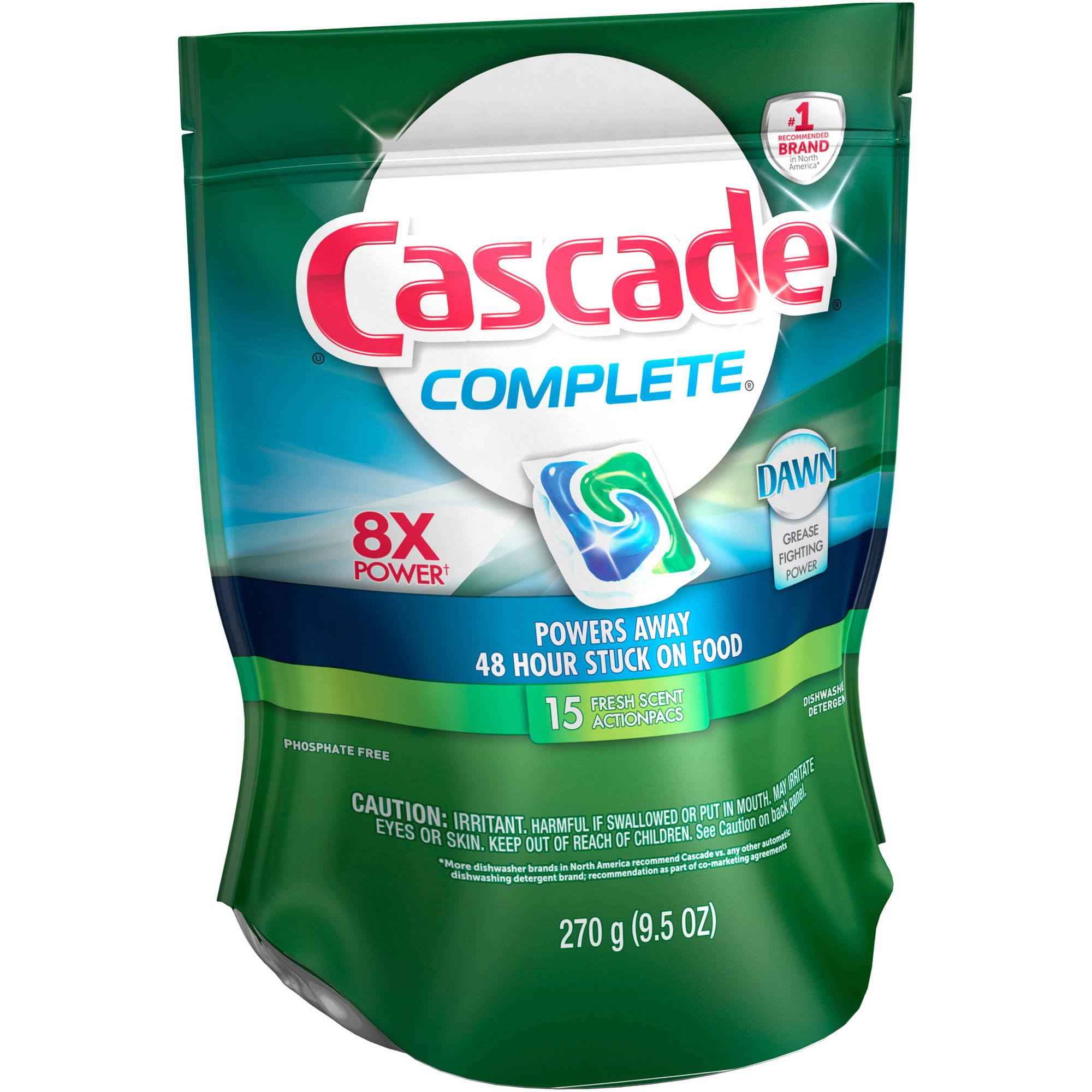 Cascade Complete ActionPacs Dishwasher Detergent Fresh Scent (choose your size)