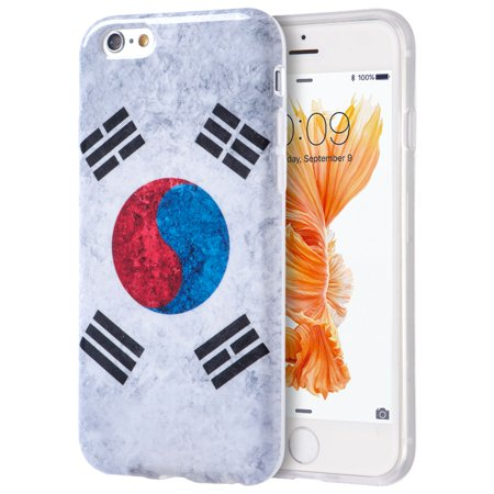 Insten Patriotic Vintage Flag Series Imd TPU Rubber Skin Gel Case For Apple iPhone 6 / 6s - South Korea - Halloween Series Imdb