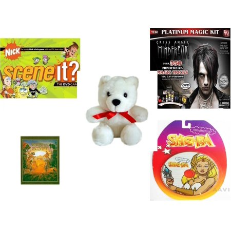 Children's Gift Bundle [5 Piece] -  Scene It? Nickelodeon DVD Board  - Criss Angel Platinum Magic Kit  - White Teddy Bear Red Ribbon  5