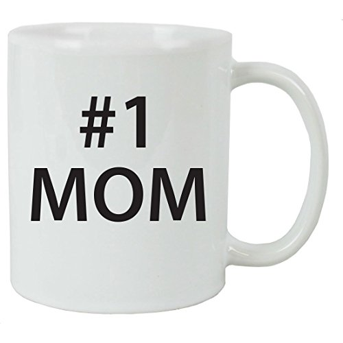#1 Mom 11 oz White Ceramic Coffee Mug with Gift Box - Great Gift for Mothers's Day Birthday or Christmas Gift for Mom Grandma Wife