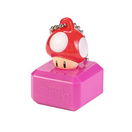 New Super Mario Bros U Mascot Keychain Light - Red Mushroom (Super Mario Mascot)