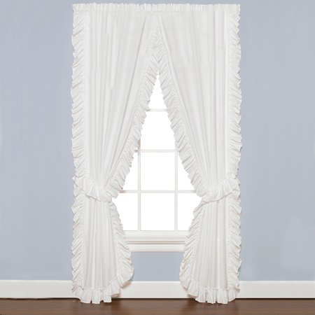 - Sarah ruffled white priscilla curtain pair 82x63