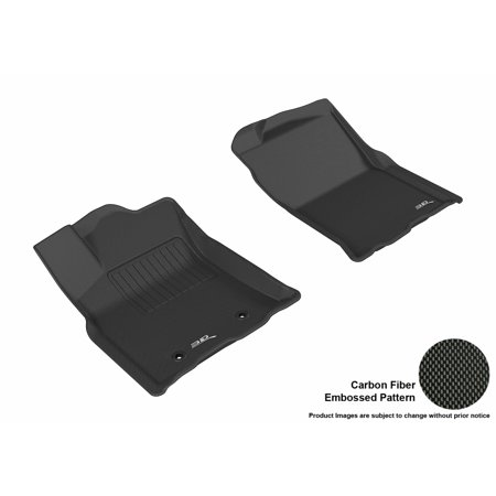 3D MAXpider 2016-2016 Toyota Tacoma Access Cab Front Row All Weather Floor Mats in Black with Carbon Fiber (2016 Toyota Tacoma All Weather Floor Mats)