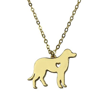 Puppy Necklace (Art Attack Goldtone I Love My Dog Lover Heart Outline Labrador Retriever Puppy Rescue Pendant)