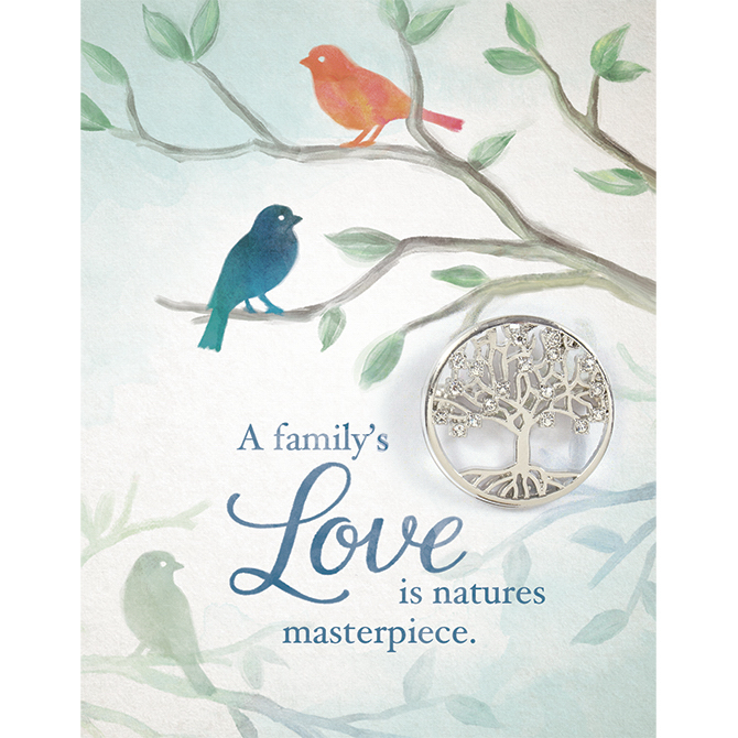 """Brooch Greeting Card-Family's Love w/Family Tree Pin (Card is 4.5 x 3.5  Pin 1"""")"""